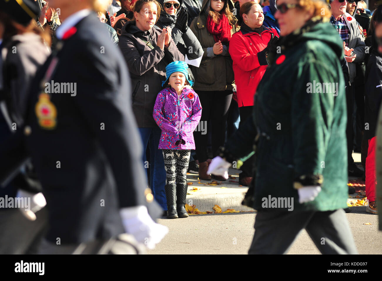 A young girl at a remembrance day event in London, Ontario in Canada. - Stock Image