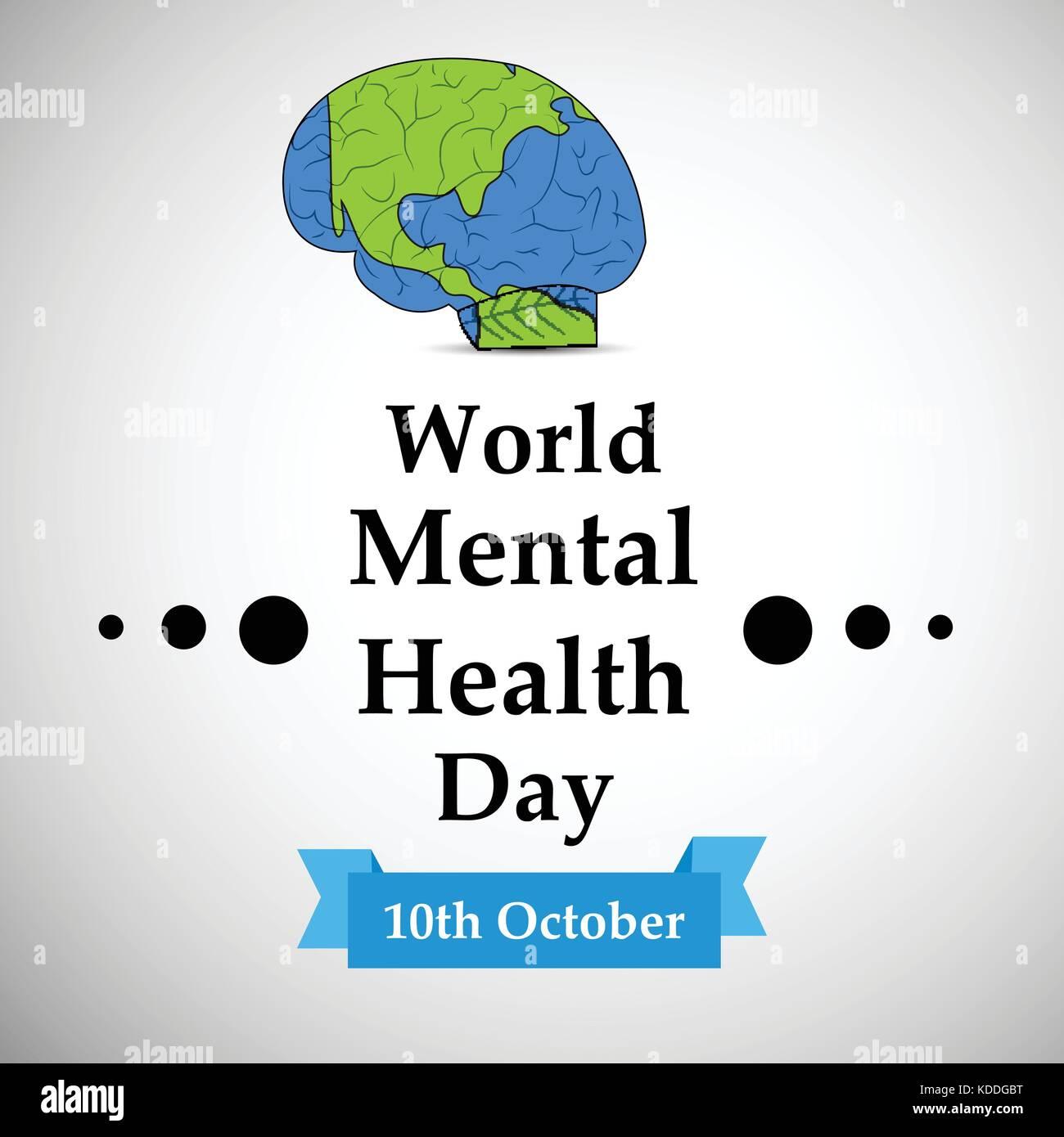 illustration of World Mental Health Day Background - Stock Image