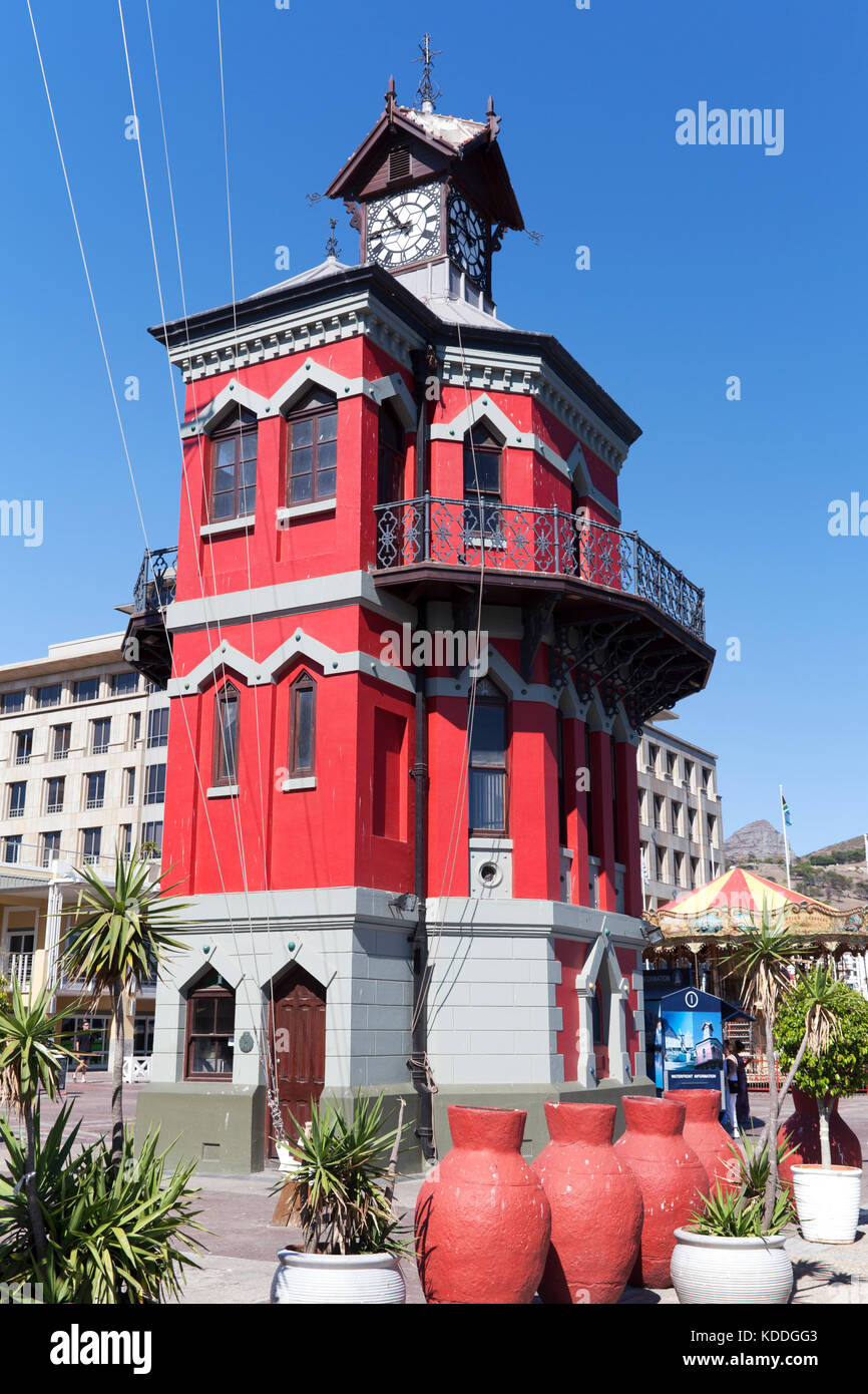 South Africa, the Victorian Gothic-style Clock Tower of the Port Captain's Office (built in 1882) along the - Stock Image