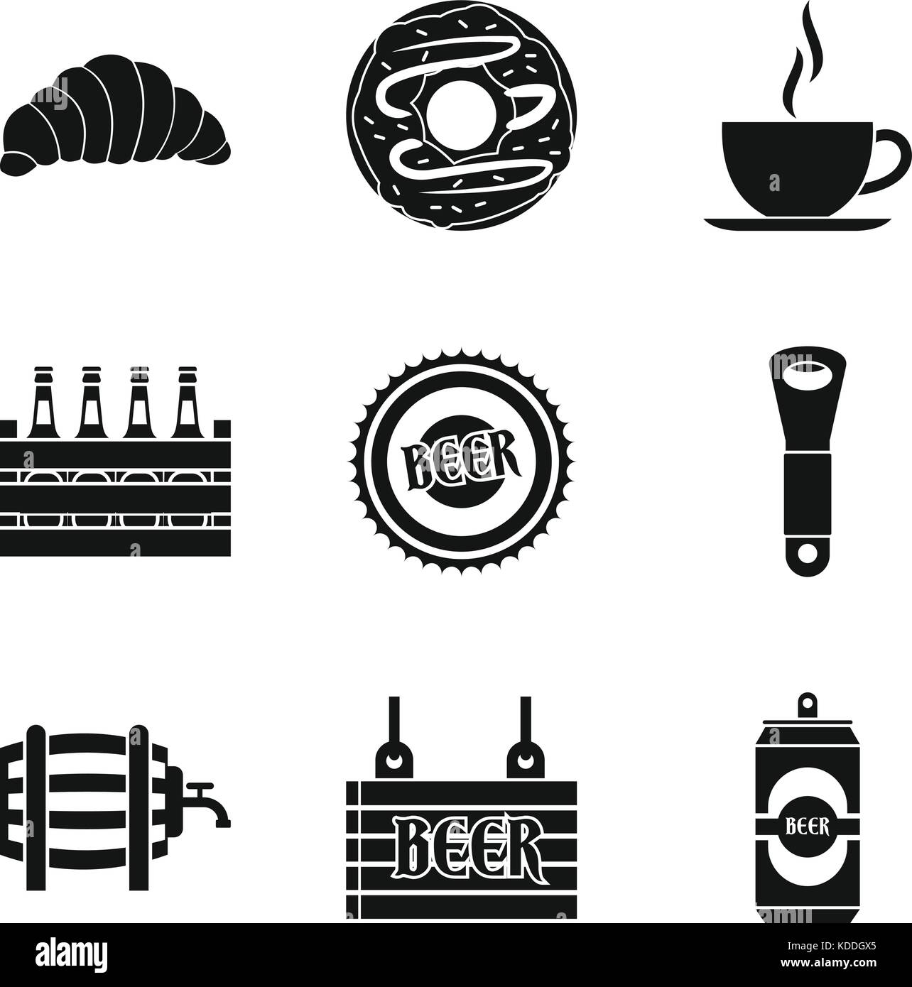 Beer on draft icons set, simple style - Stock Image