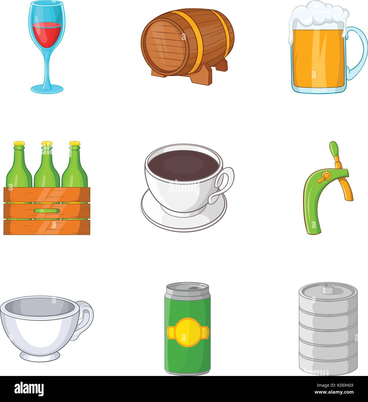 Draft beer icons set, cartoon style - Stock Image