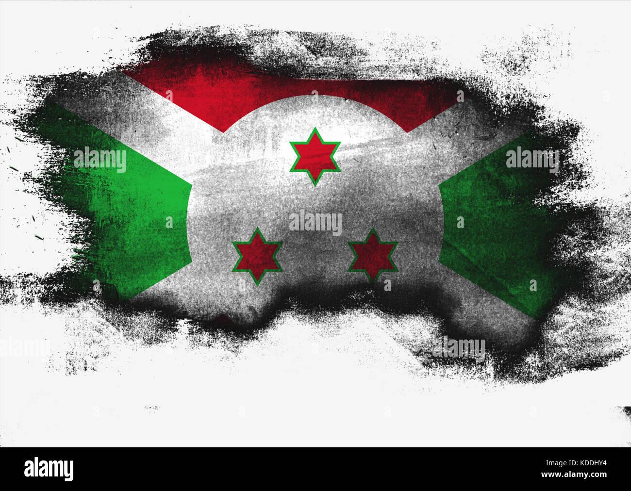 Burundi flag painted with brush on white background, 3D rendering Stock Photo