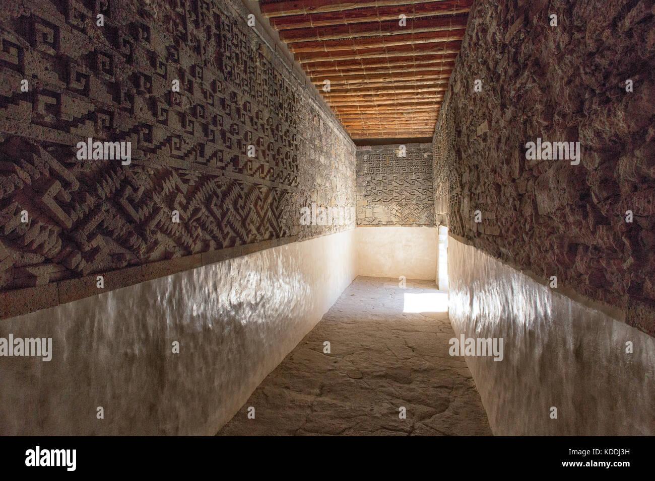 mosaic fretwork at Mitla ruins Oaxaca Mexico - Stock Image