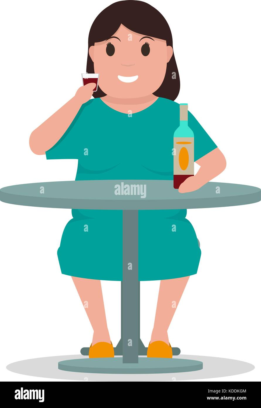 Vector cartoon woman alcoholic drink alcohol table - Stock Image