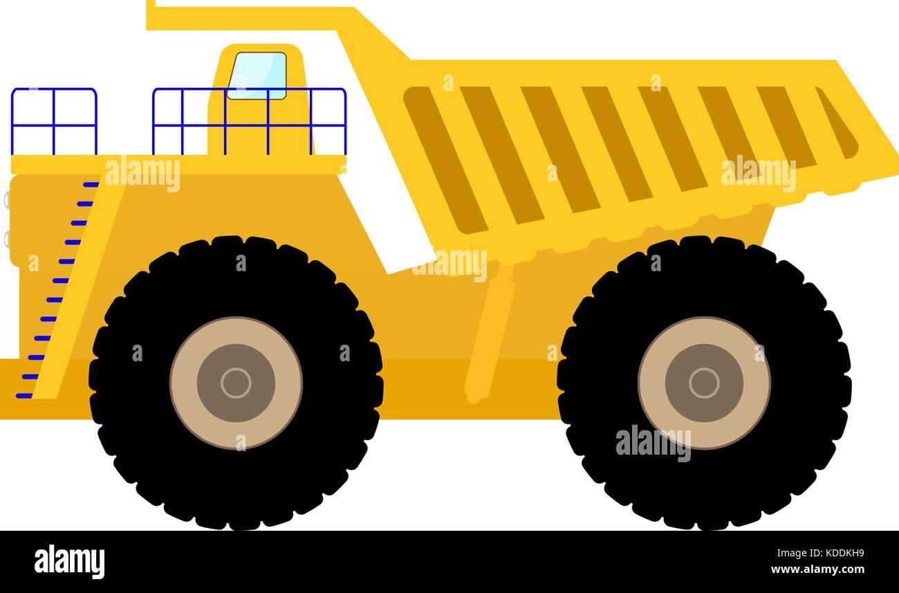 Vector illustration cartoon big heavy dump truck - Stock Vector