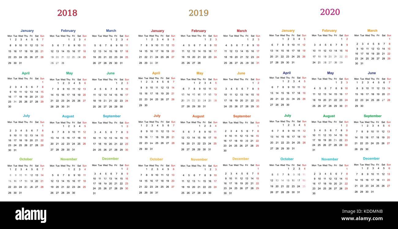 Calendario 2018 2019.12 Months Calendar Design 2018 2019 2020 Printable And