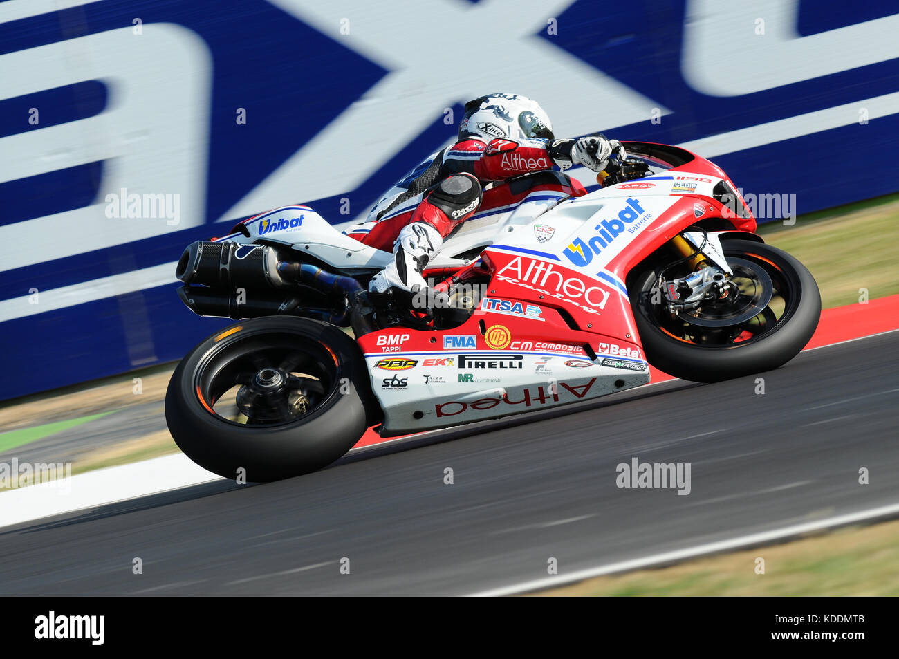 San Marino, Italy - Sep 24, 2011: Ducati 1198R of Althea Racing, driven by Carlos Checa in action during the Superbike Stock Photo