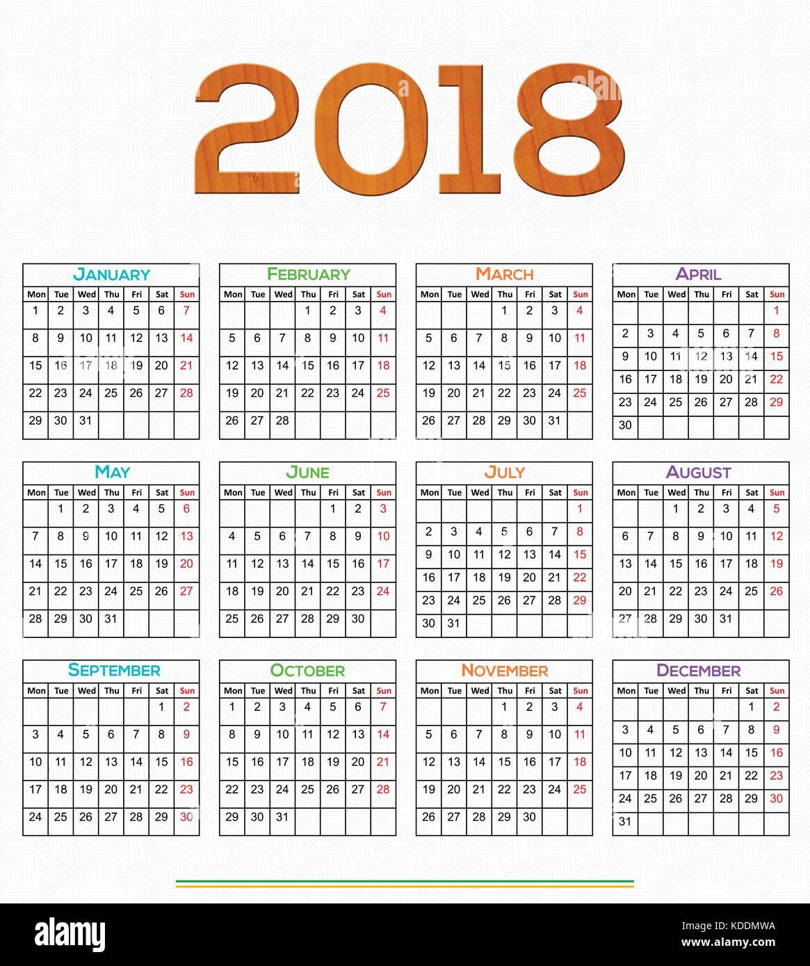 12 month calendar 2018 printable