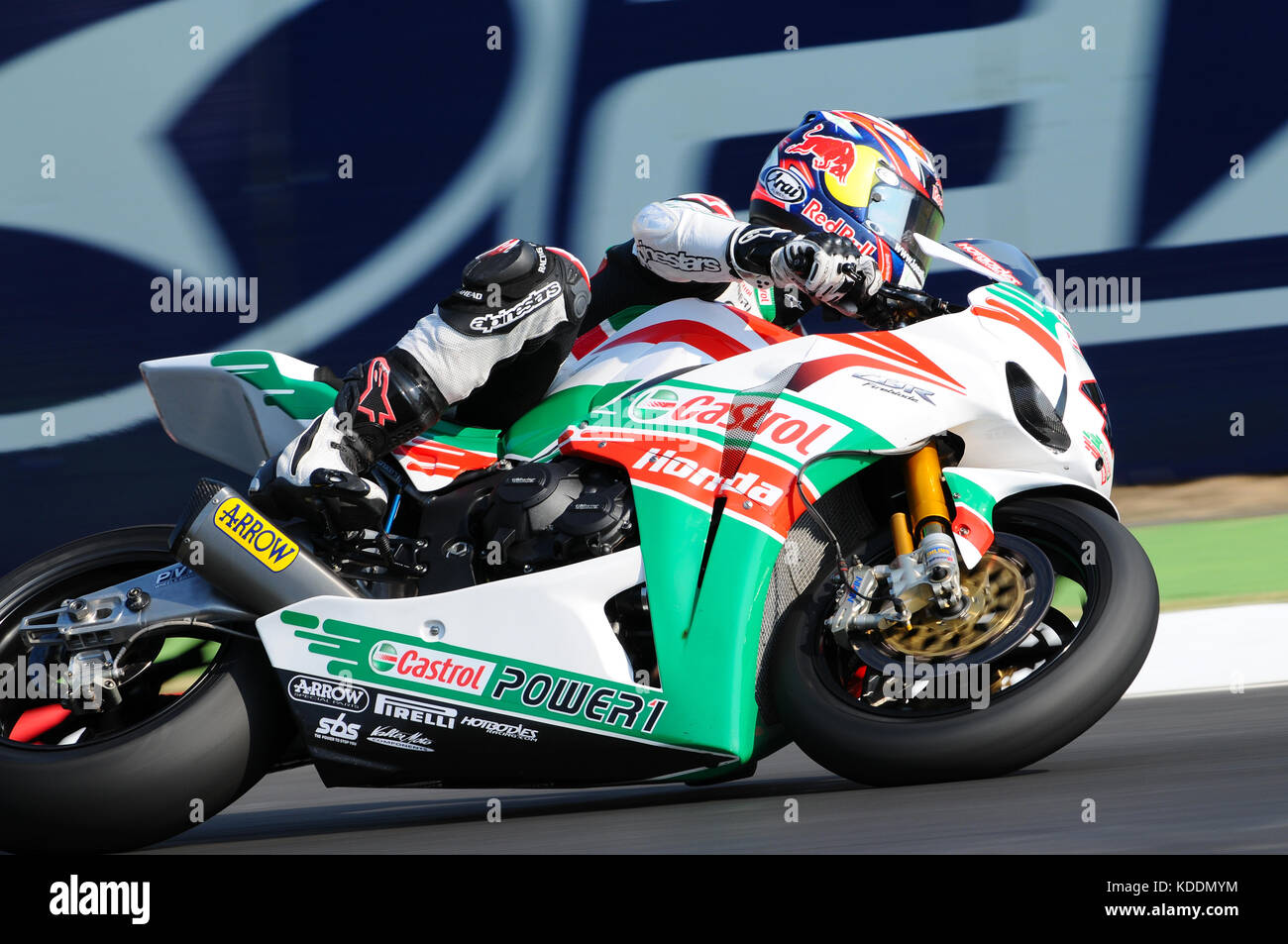San Marino, Italy - Sep 24, 2011: Jonathan Rea GBR (Honda CBR1000RR) Castrol Honda in action during the Superbike Stock Photo