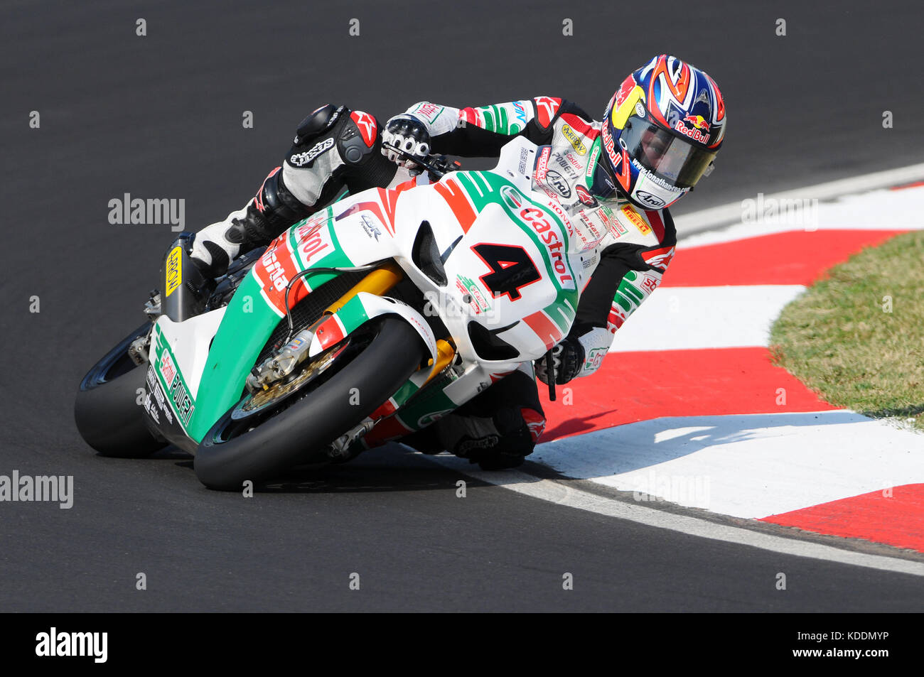 San Marino, Italy - Sep 24, 2011: Jonathan Rea GBR (Honda CBR1000RR) Castrol Honda in action during the Superbike Stock Photo