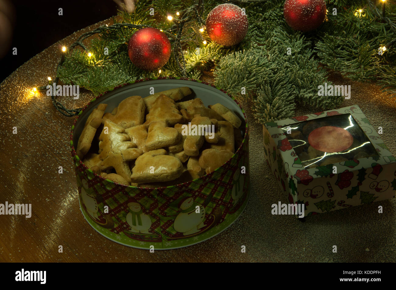 New Year Christmas Cookies With Christmas Decorations And Branch Of
