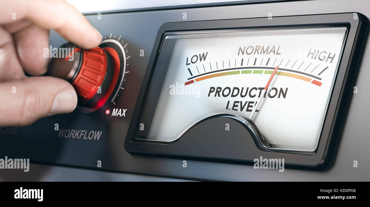 3D illustration of a production dashboard with hand turning a red knob. Concept of correlation between workflow - Stock Image