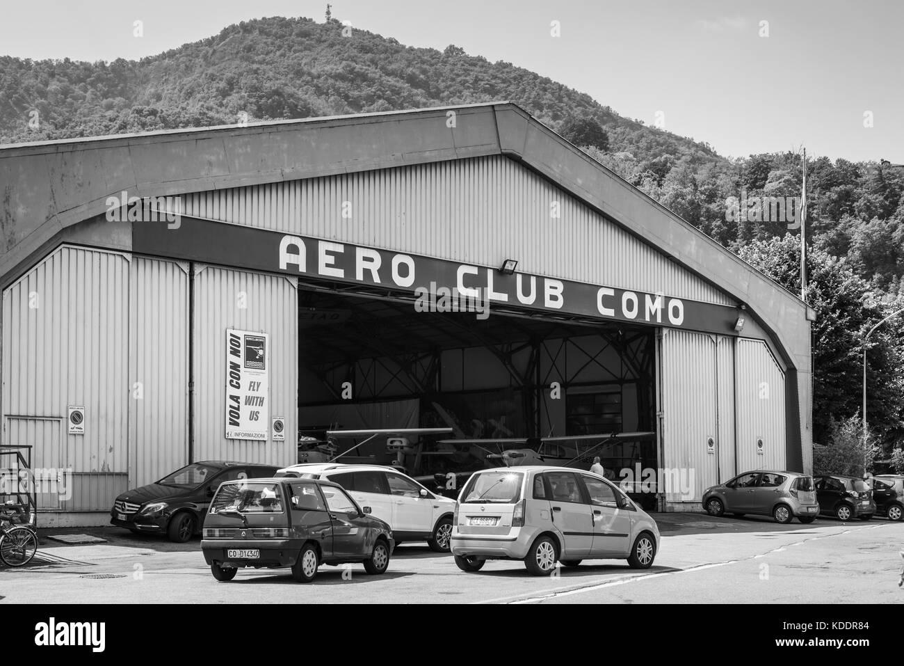 Como, Italy - May 27, 2016: Hangar of the Aero Club Como at water aerodrome of Como lake in Como City, Italy. Black Stock Photo