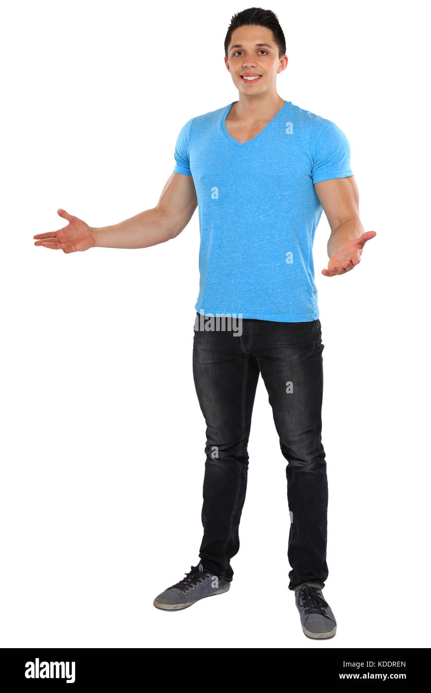 Welcome inviting invitation standing whole body portrait young man isolated on a white background - Stock Image