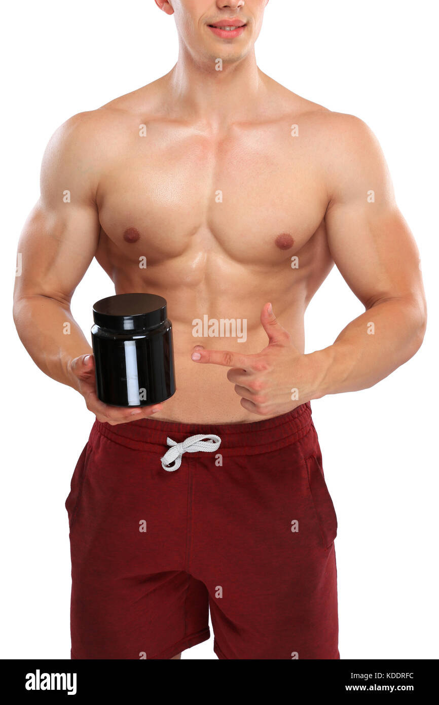Doping anabolic protein bodybuilder bodybuilding portrait format muscles strong muscular man - Stock Image