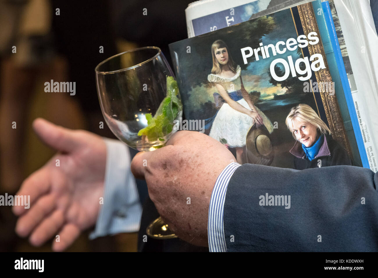 London, UK. 12th Oct, 2017. Princess Olga Romanoff, descendant of the last Tsar of Russia, Nicholas II, signs copies Stock Photo