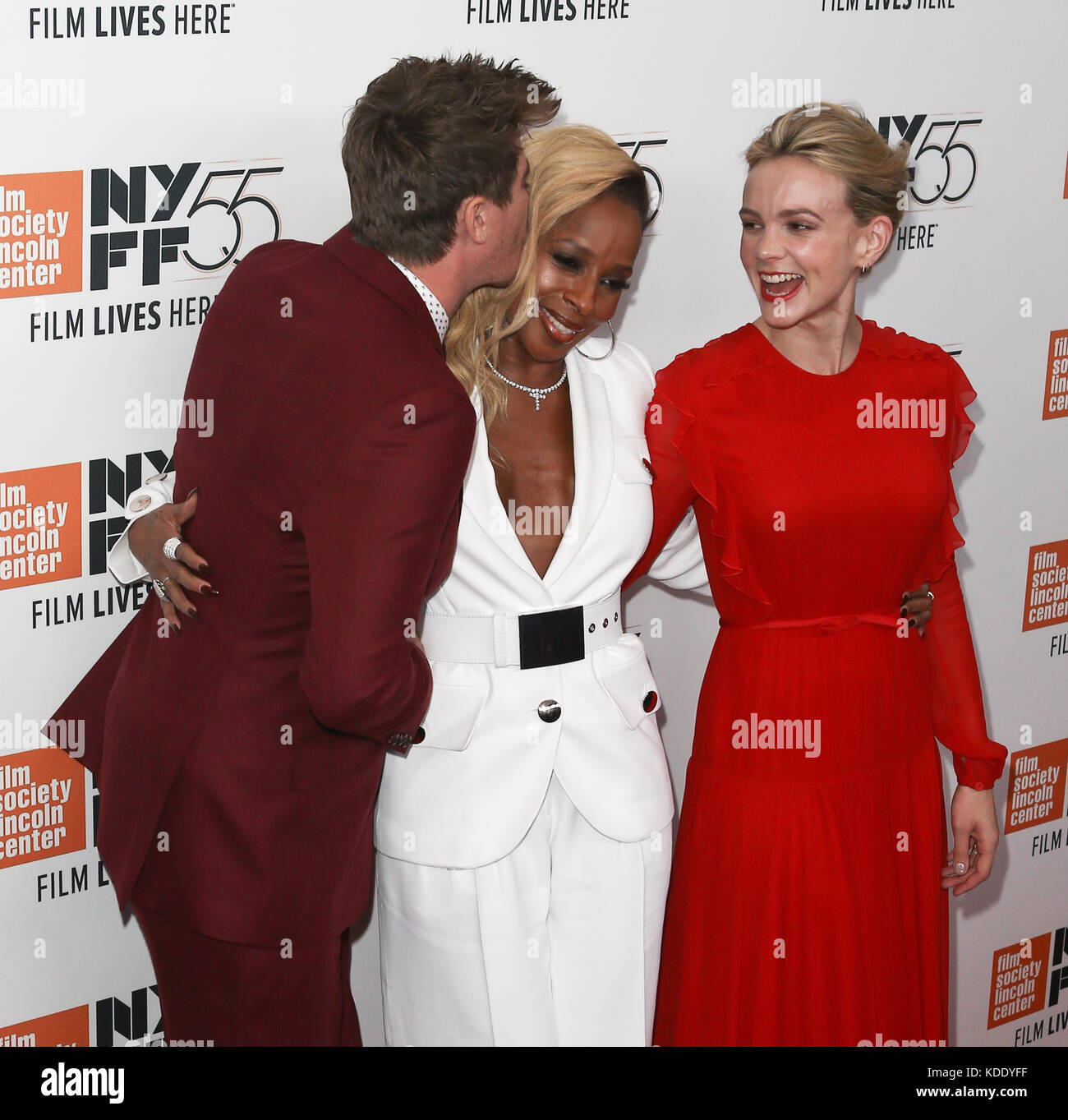 (L-R) Actors Garrett Hedlund, Mary J. Blige and Carey Mulligan attend the 'Mudbound' premiere at Alice Tully - Stock Image