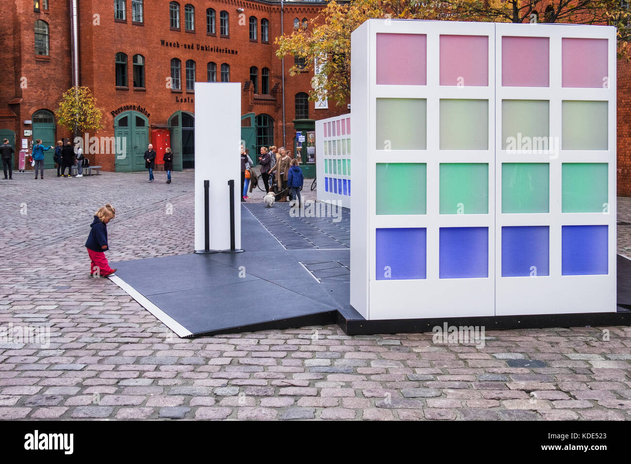 Berlin, Germany. 13th October, 2017. People enjoy an Energy harvesting pathway - a colourful, interactive installation - Stock Image