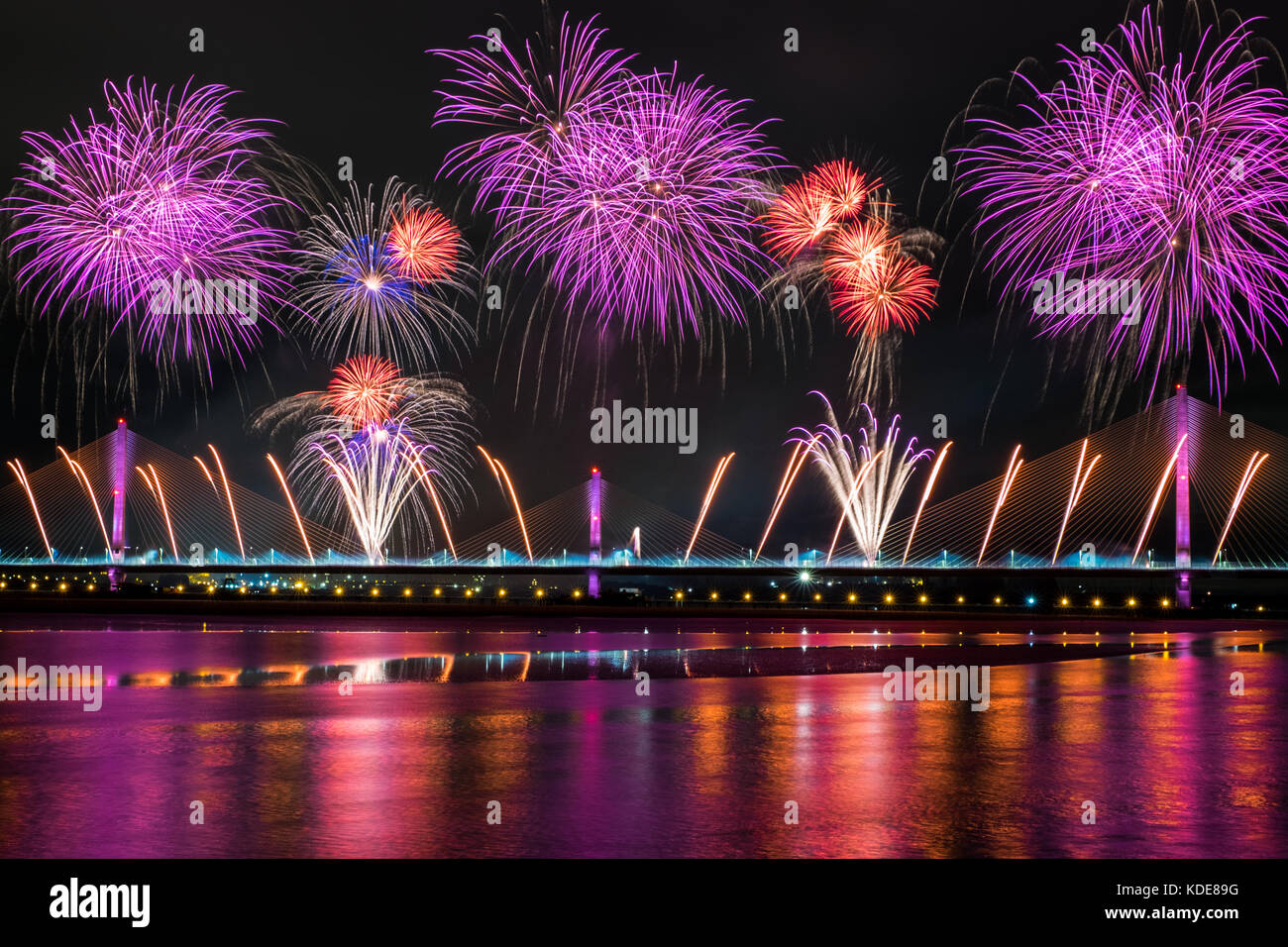 Widnes, UK. 13th October, 2017. Fireworks have launched the new Mersey Gateway bridge on Friday, October 13, 2017, - Stock Image