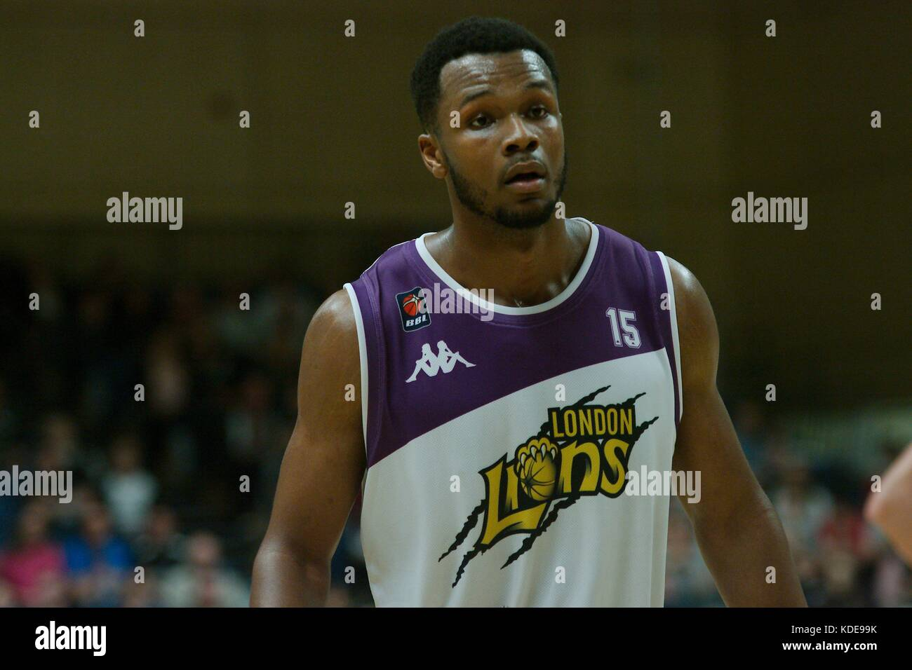 Newcastle upon Tyne, England, 13 October 2017. Demonte Flannigan playing for London Lions in a British Basketball - Stock Image