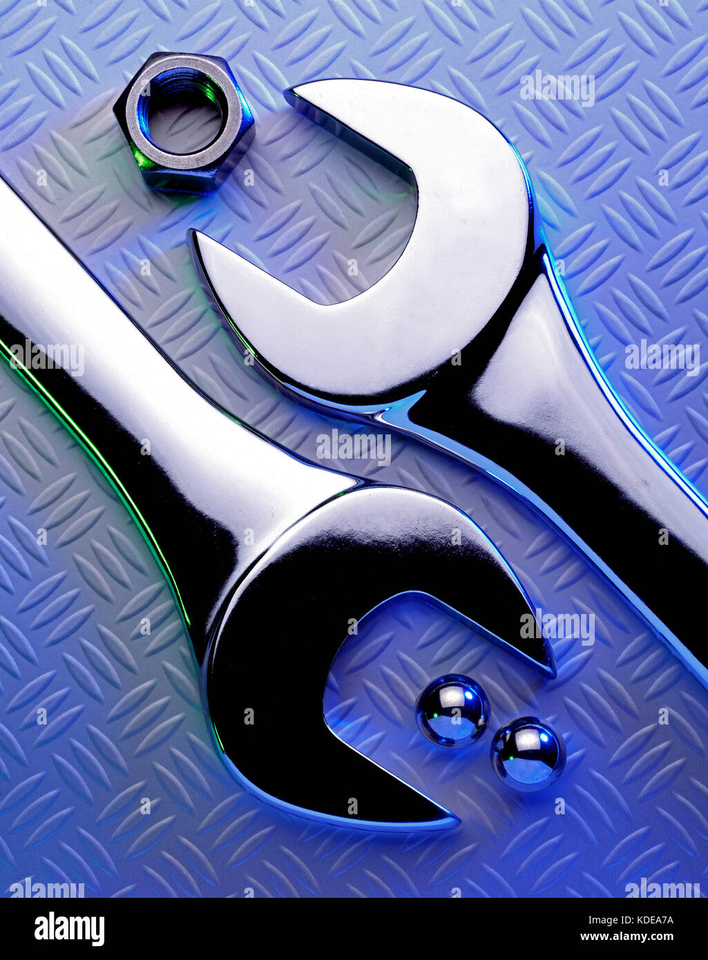 Still life. Close up of spanners. - Stock Image