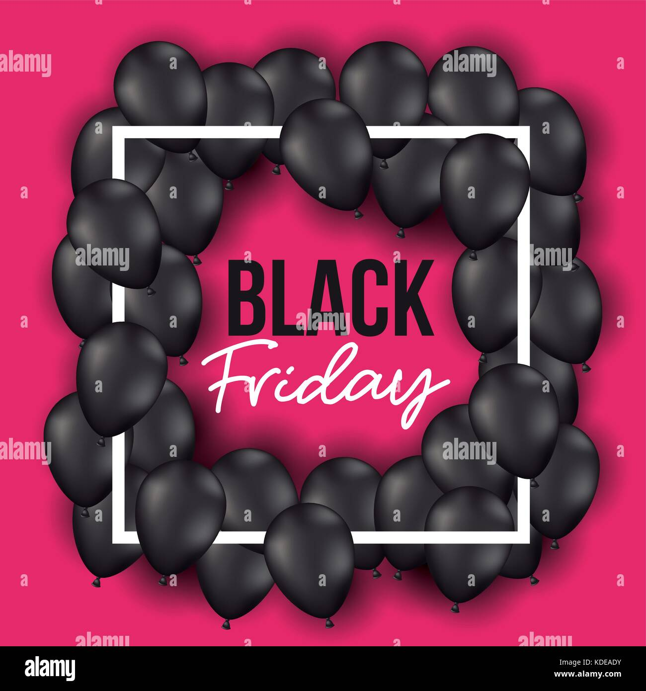 black friday poster with frame with balloons and magenta background - Stock Image