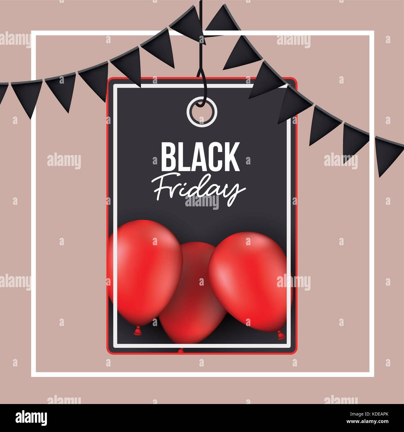 background with white frame and thistle color background with black festoons with pendant rectangle tag of black - Stock Image