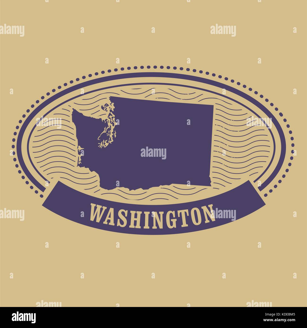 Washington map silhouette - oval stamp - Stock Vector