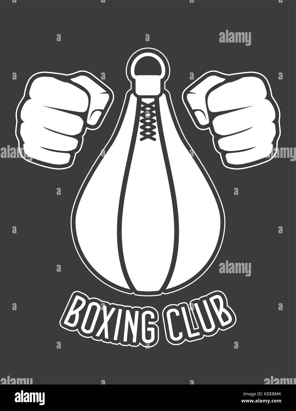 Boxing club emblem - fists and punching bag - Stock Vector