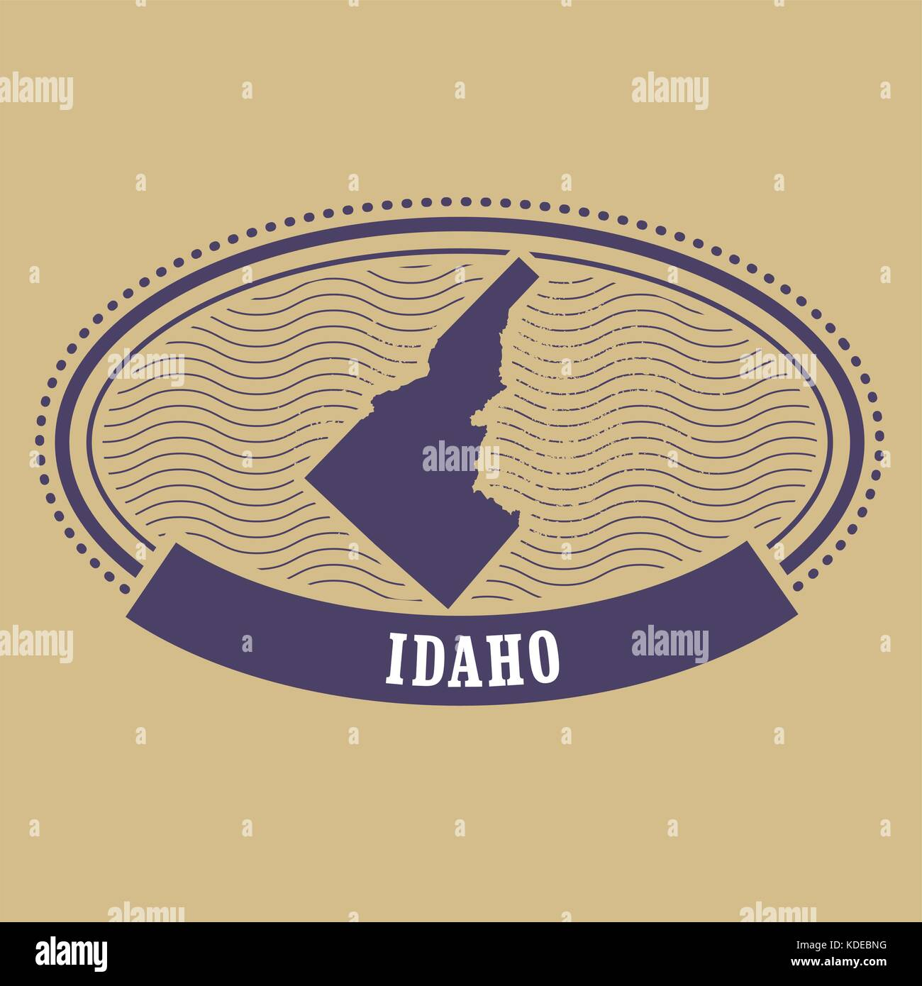 Idaho map silhouette - oval stamp of state - Stock Vector