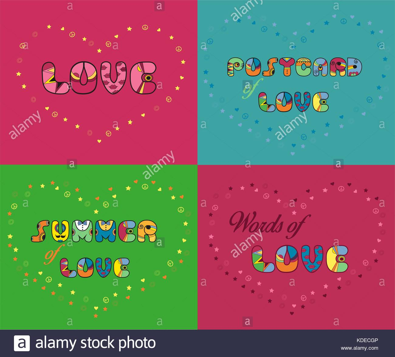 Inscriptions for greeting cards and t shirts unusual artistic font inscriptions for greeting cards and t shirts unusual artistic font love postcard of love summer of love words of love vector illustration eps 8 m4hsunfo