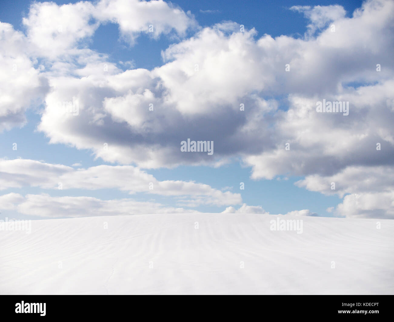 Empy snowfield with blue sky and clouds at Biei, Hokkaido, Japan, during winter - Stock Image