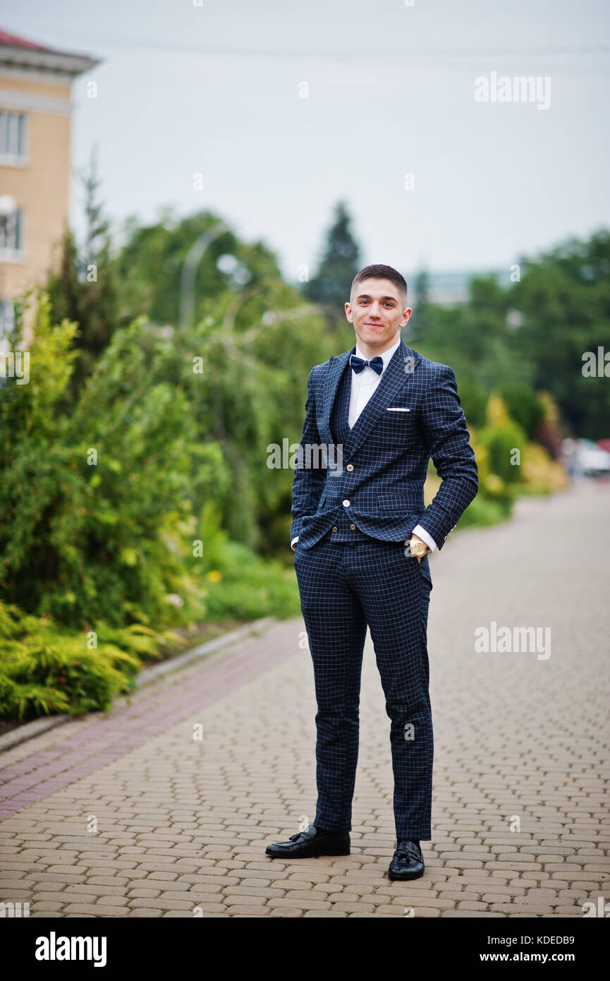 Portrait Of A Handsome Young Man In Formal Fancy Suit Posing On The Stock Photo Alamy