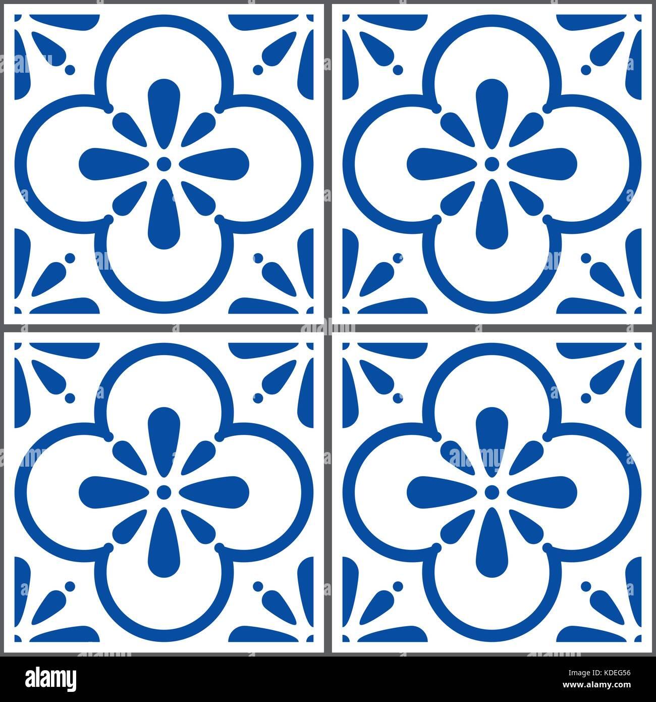 Azulejos vector tiles pattern, Portuguese seamless blue tiles design, Geometric ceramics - Stock Vector