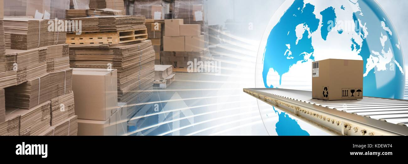Digital composite of boxes in warehouse, transition Stock Photo