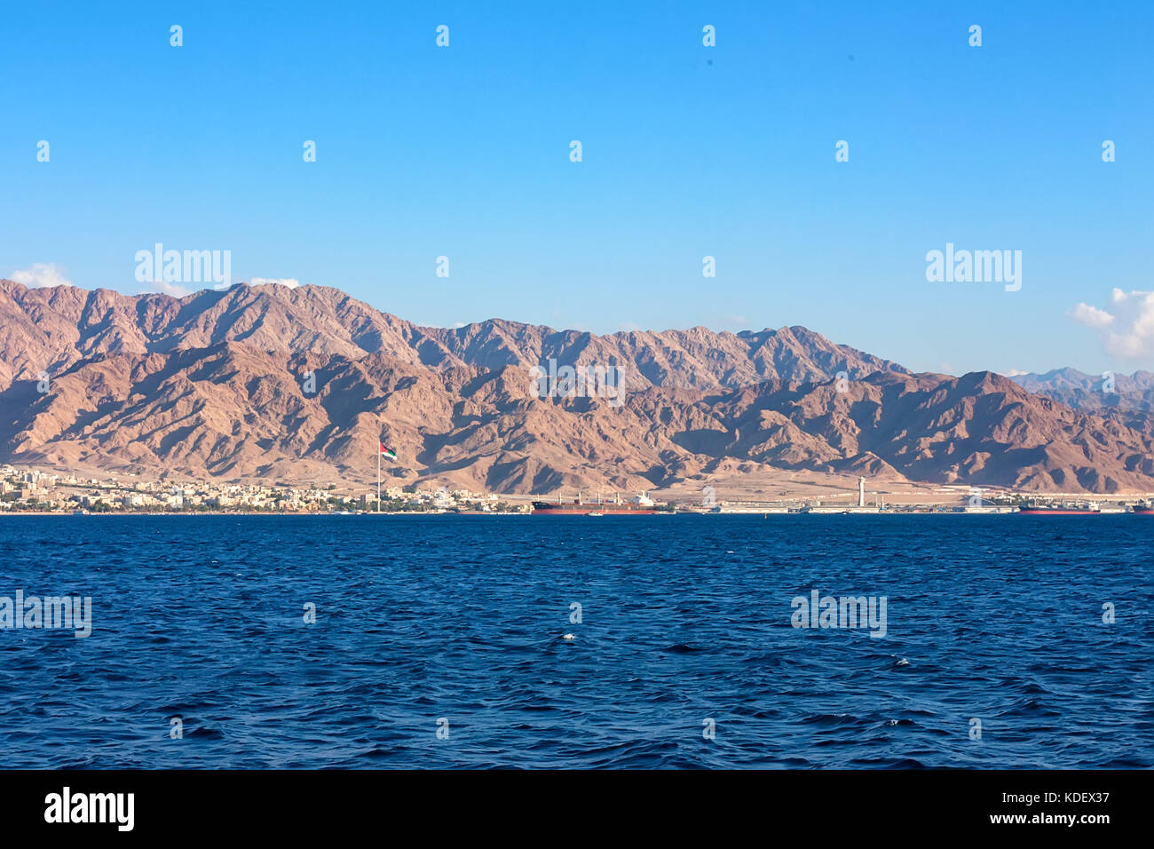 Coastline landscape of Red Sea in Gulf of Aqaba - Stock Image
