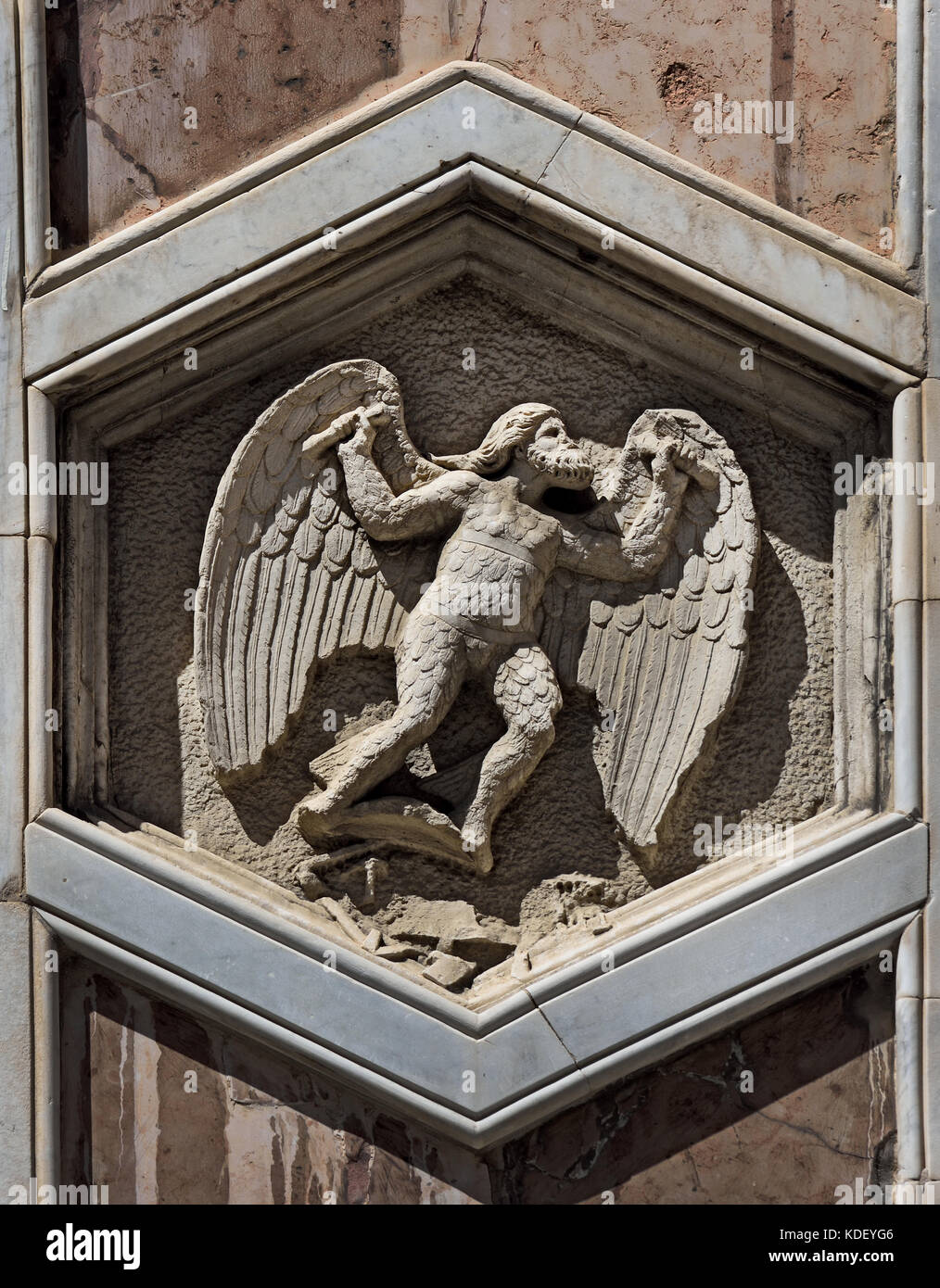 Daedalus: inventor of arts: Andrea Pisano, 1334-36 Pisano 1290 – 1348 is sculptor architect and Workshop began about - Stock Image