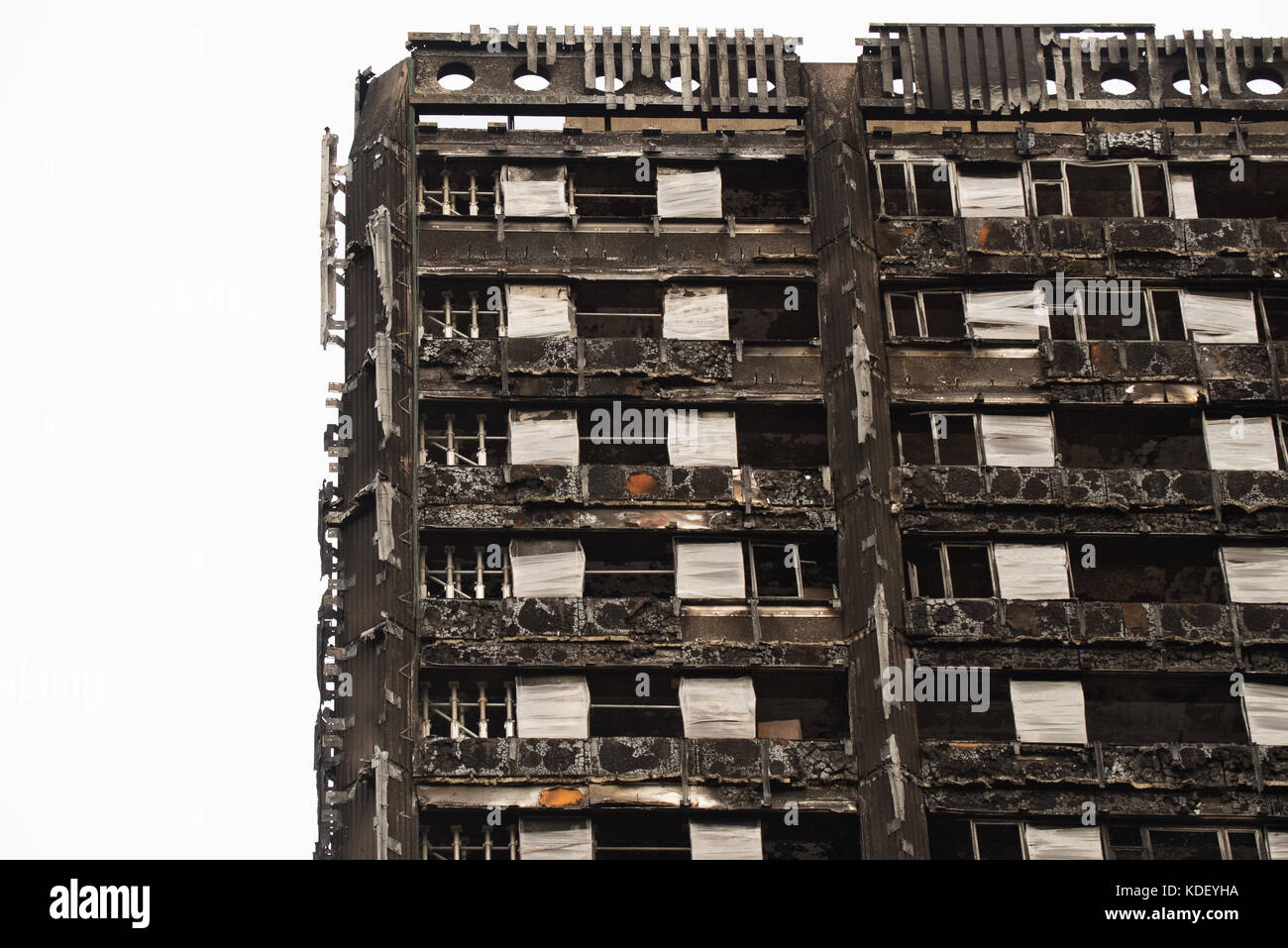 Grenfell Tower Block of Flats Latimer Road London 6th October 2017 3 months after the fire - Stock Image
