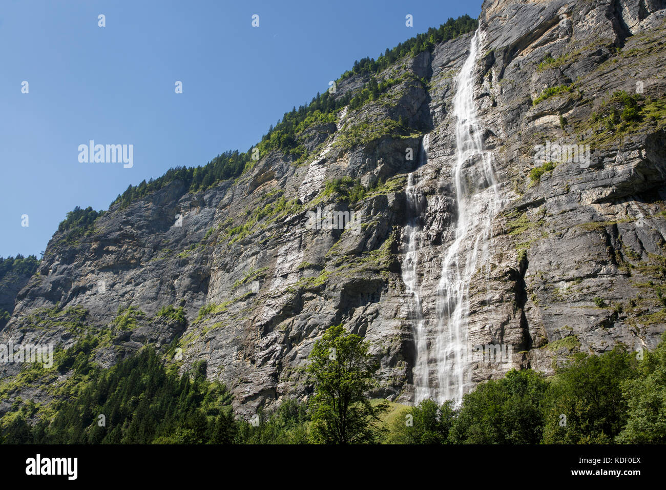 Mürrenbachfall, Lauterbrunnen, Switzerland - Stock Image