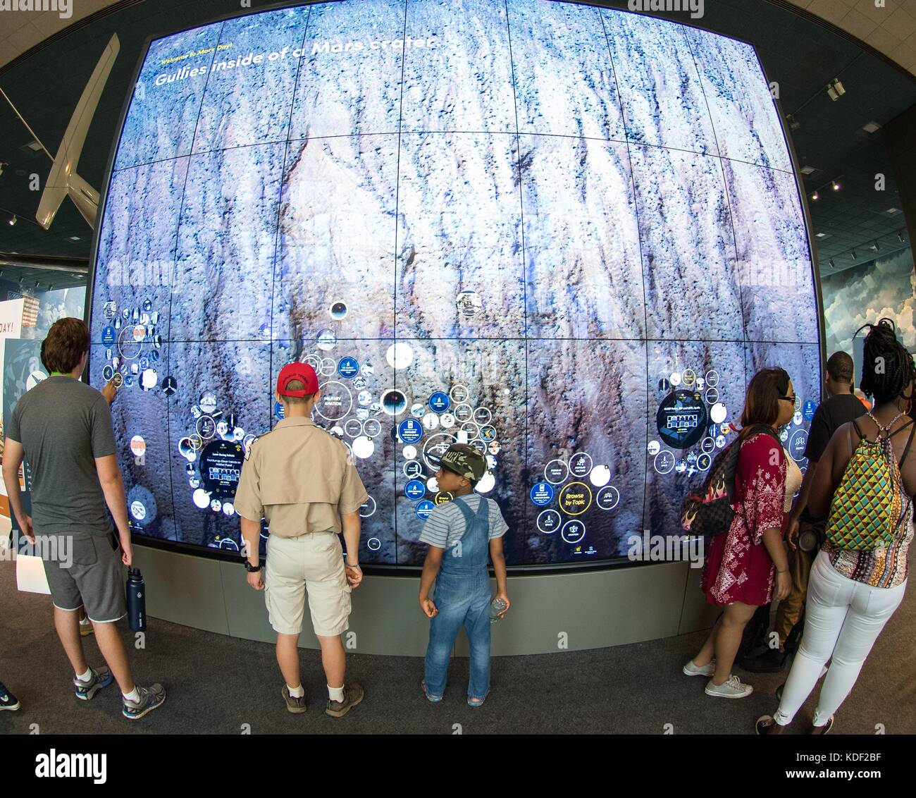 Visitors Explore An Interactive Map Of The Surface Of Mars At The - Interactive space map