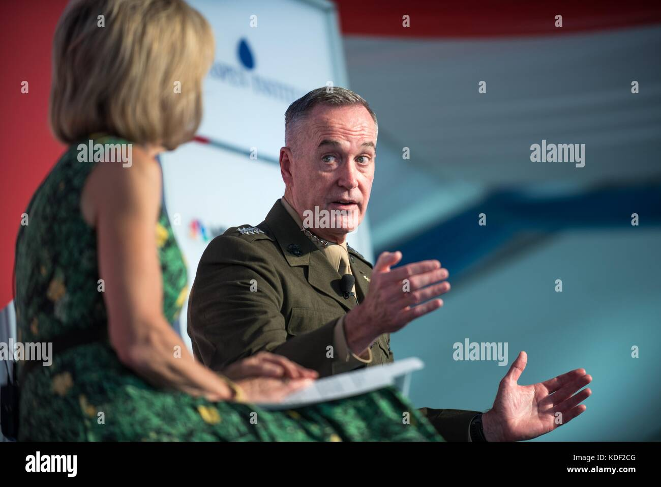 NBC News Chief Foreign Affairs Correspondent Andrea Mitchell interviews U.S. Joint Chiefs of Staff Chairman Joseph - Stock Image