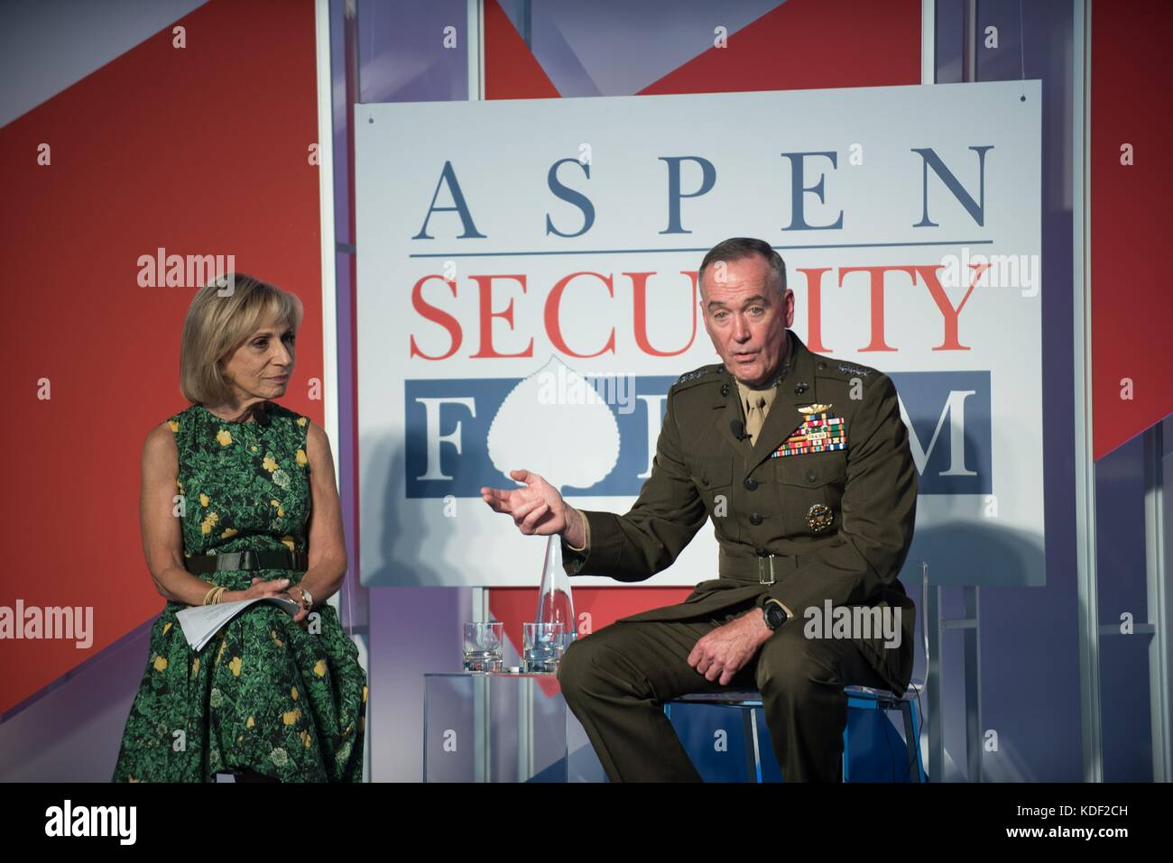 NBC News Chief Foreign Affairs Correspondent Andrea Mitchell interviews U.S. Joint Chiefs of Staff Chairman Joseph Stock Photo