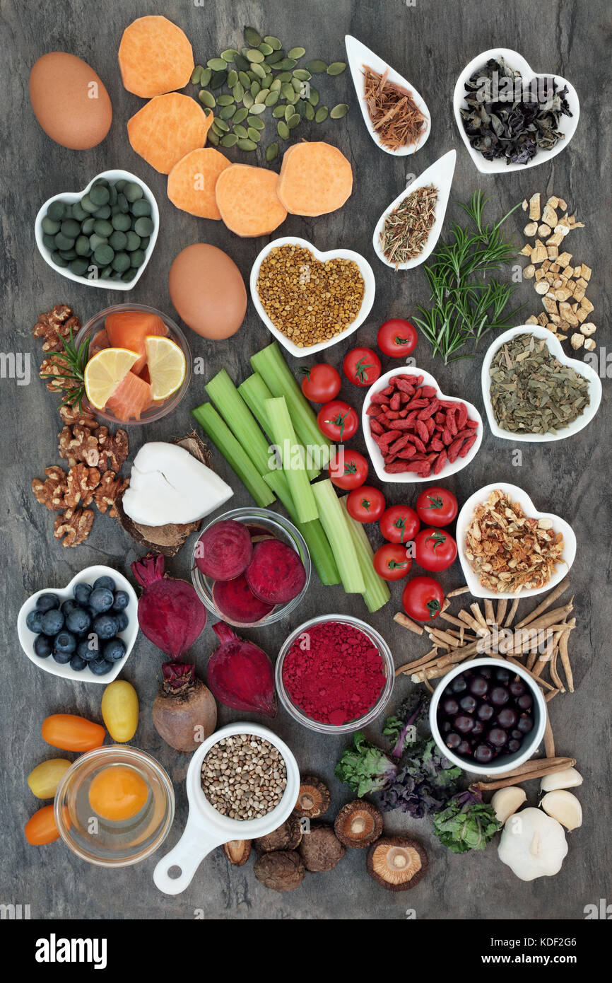 Healthy diet food concept to improve brain power and cognitive functions on marble. Super food high in vitamins, - Stock Image