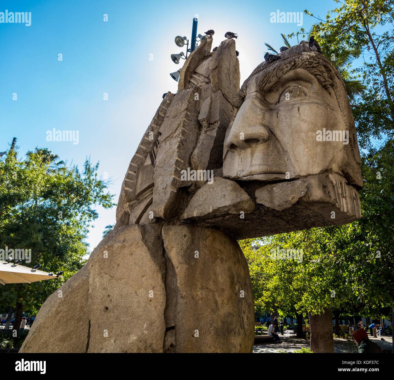 Monument to the Mapuche, Plaza de Armas, Santiago, Chile, South America - Stock Image