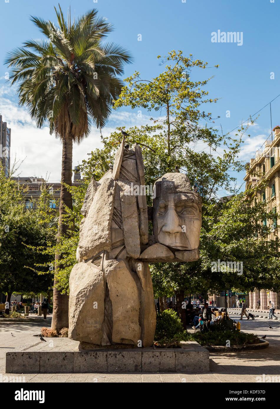 Monument to the Mapuche, Plaza de Armas, Santiago, Chile, South America Stock Photo