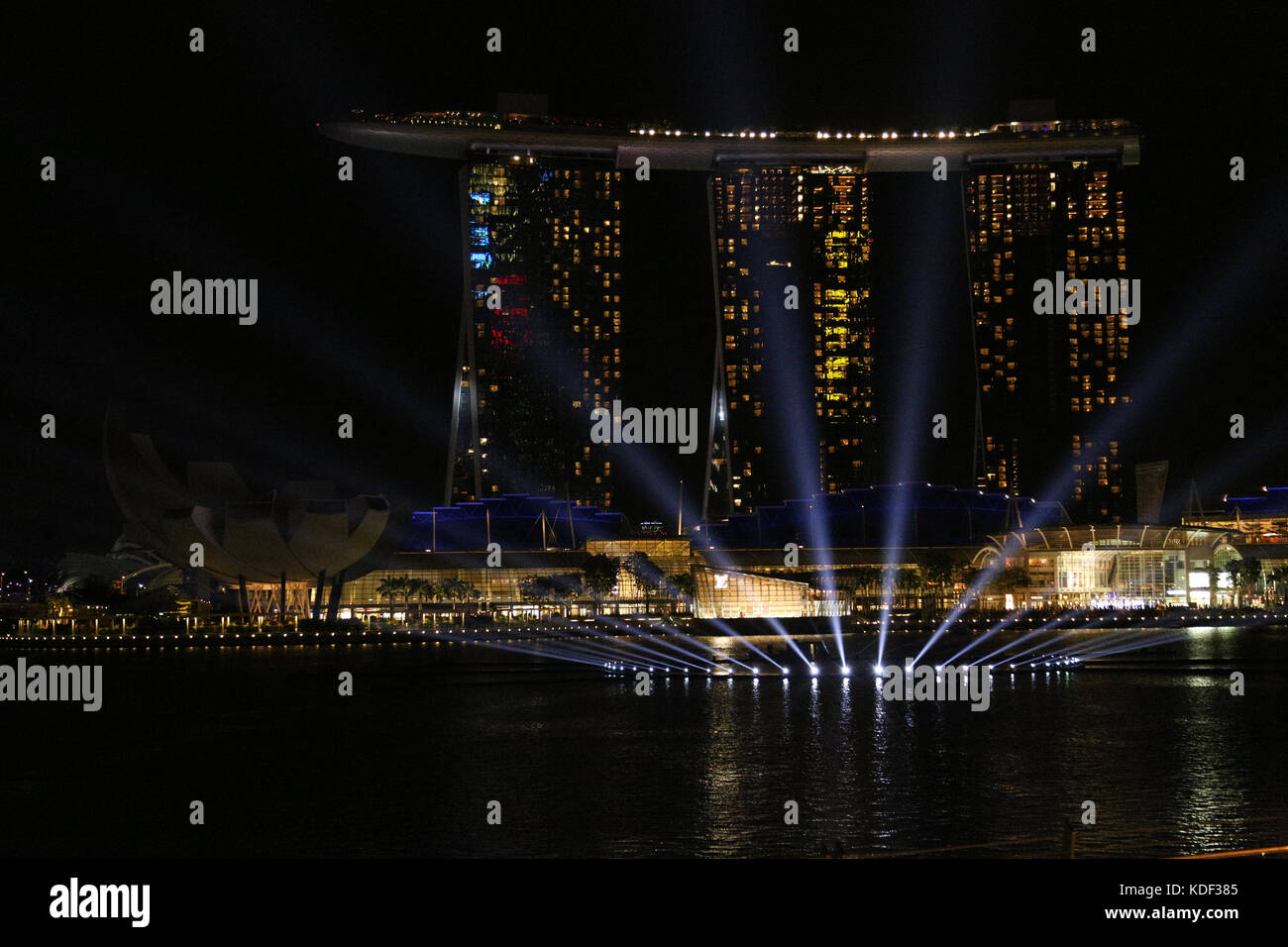 Night light show, Marina Bay Sands, Singapore - Stock Image