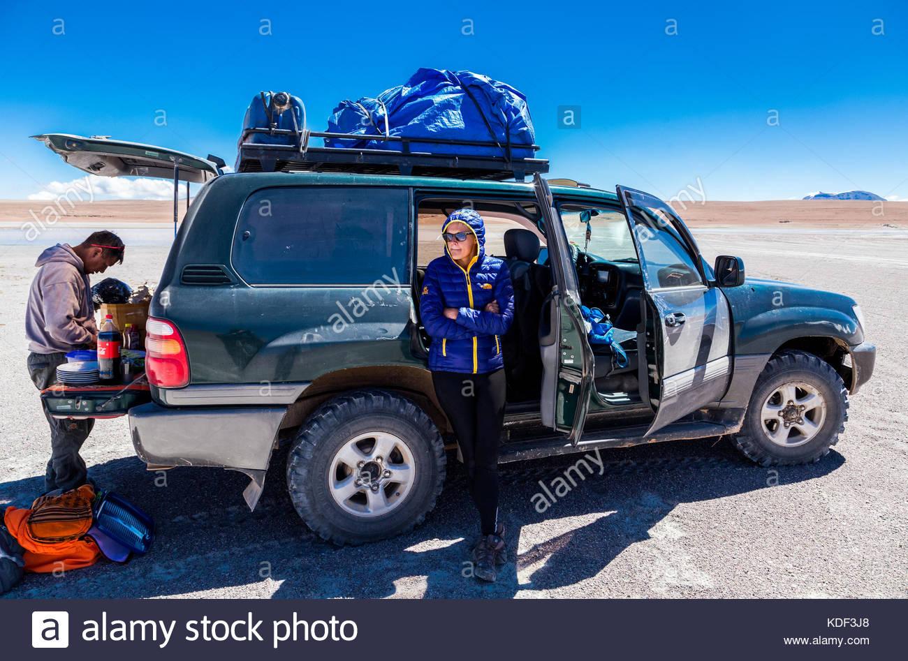 Drive in the desert, Bolivia - Stock Image