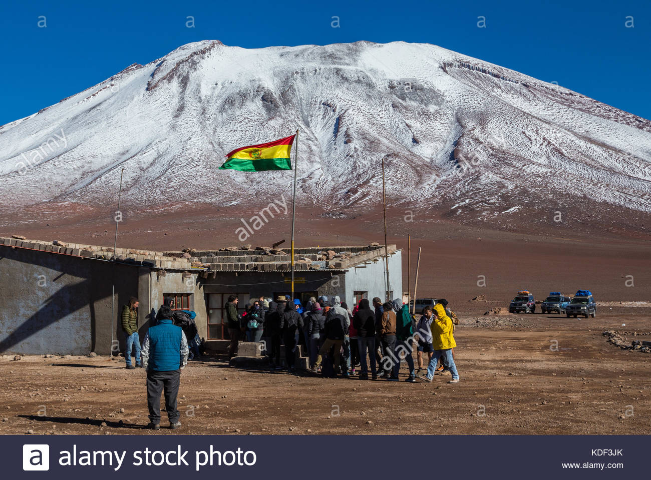 Border Bolivia Chile, next to Juriques Volcano - Stock Image