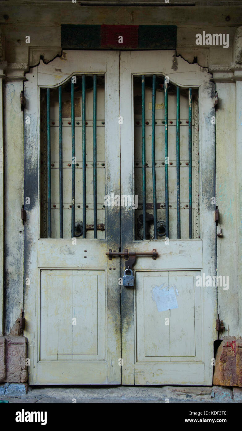 Old vintage traditional wooden door in the heritage city Ahmedabad, Gujarat, India - Stock Image