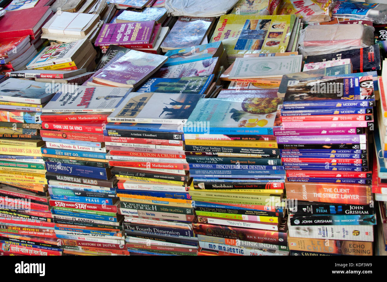 Second hand, cheap, used, old books sold in bargain to readers in the city of Ahmedabad, India. - Stock Image